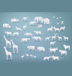 wild animals in many types paper art and origami vector image
