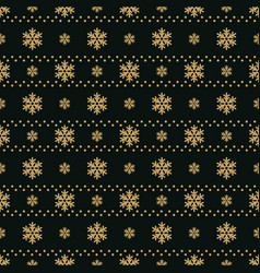 winter black background with gold snowflakes for vector image