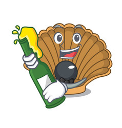 With beer shell with pearl mascot cartoon vector