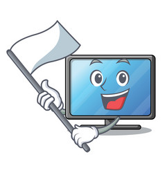 with flag lcd tv isolated with the character vector image