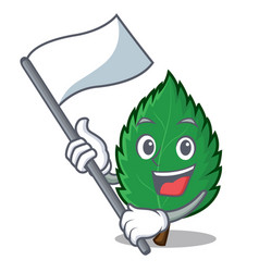 With flag mint leaves mascot cartoon vector