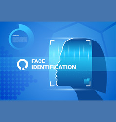 Woman face scanning modern identification system vector