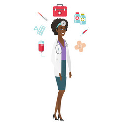 Young african-american confident doctor vector