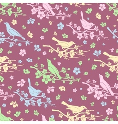 Flowers and birds seamless background vector image vector image