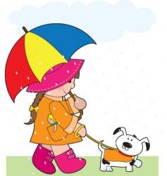 girl in rain vector image vector image