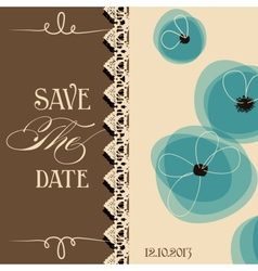 Save the date elegant invitation floral design vector image vector image