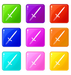 Sword icons 9 set vector