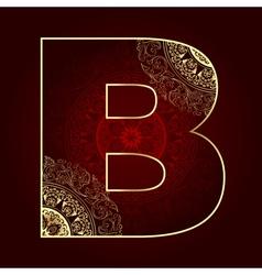 Vintage alphabet with floral swirls letter B vector image