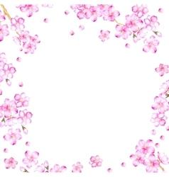 Frame of cherry blossom flowers vector image
