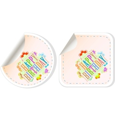 Happy birthday and holidays stickers form vector image