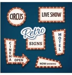 Retro neon bulb signs set Cinema live vector image