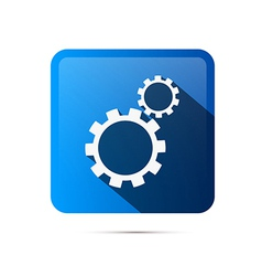 Blue Square Cogs Gears Icon vector image