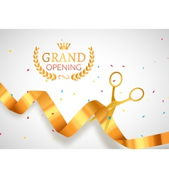 Grand opening invitation banner golden ribbon cut vector