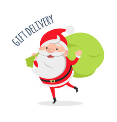 santa claus delivers gifts to children vector image