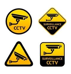 Video surveillance set stickers vector image vector image