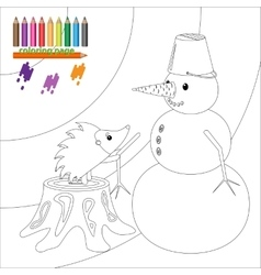 Coloring page with hedgehog and snowman vector image vector image