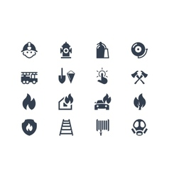 Firefighters icons vector image vector image