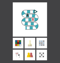 flat icon games set of ace backgammon xo and vector image
