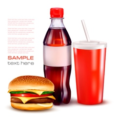 hamburger and cola and bottle vector image vector image