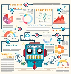 Infographic robot standing confidently of graph vector image vector image