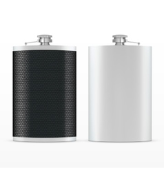 Metal hip leather flask vector image