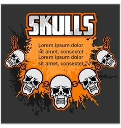 Necklace of skull - template for designs vector image