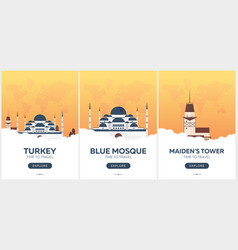 turkey istanbul time to travel set of travel vector image