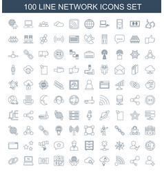 100 network icons vector image