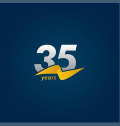 35 years anniversary celebration white blue vector