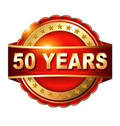 50 years anniversary golden label with ribbon vector image vector image