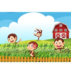 A farm with monkeys vector