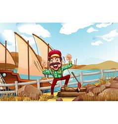 A lumberjack shouting vector