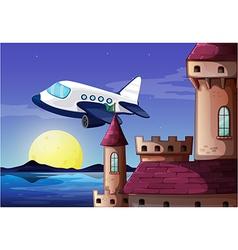 An airplane near the castle vector