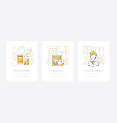 Analytics and finance - line design style banners vector