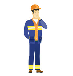 Asian builder thinking vector