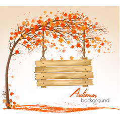 autumn nature background with a tree and a wooden vector image