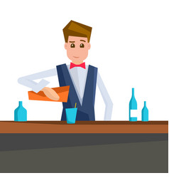 Barman pouring a cocktail into a glass vector