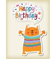 Birthday greeting with funny animals vector