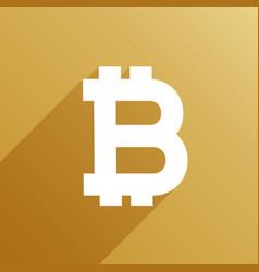 bitcoin symbol with long shadow vector image