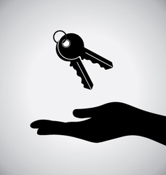 Black hand with key icon vector