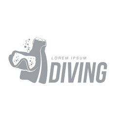 Black white graphic diving logo template with mask vector