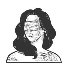 blindfolded girl sketch vector image