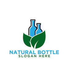 bottle and leaf logo design template vector image