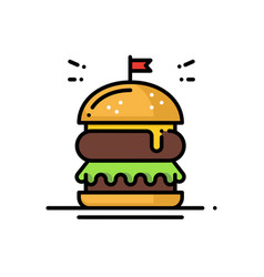 burger line icon hamburger sign and symbol fast vector image