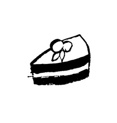 cake icon piece of cheesecake grunge vector image