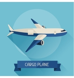 Cargo plane icon on background in flat design vector image