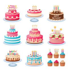 cartoon cakes colorful delicious desserts vector image