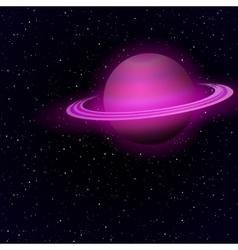 Cartoon Saturn in open space vector