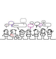 cartoon women people and social network vector image