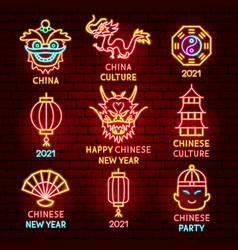 chinese new year label set vector image